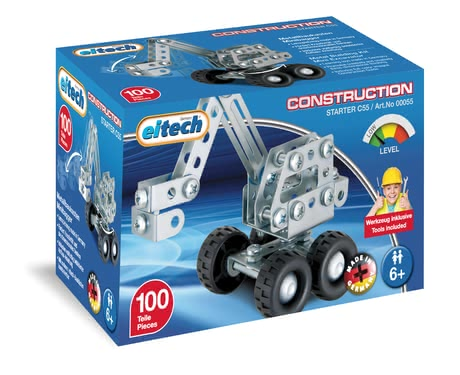 Eitech Metal Building Kit Mini-Digger -  * With the eitech Metal Building Kit Mini-Digger your little builder can construct another vehicle perfect for complementing the mini-construction site in the nursery.