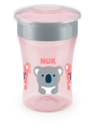 "NUK Magic Cup -  * The NUK Magic Cup accompanies your little explorer from the age of 8 months and up, and allows him/ her to drink from it like from a regular cup. The ""magical"" difference: A silicone disc prevents the Magic Cup from leaking. *"