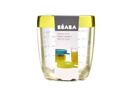 Béaba Glass Container, 250 ml -  * Store, freeze, heat and sterilise – all in one container. The practical Béaba container is made of particularly high-quality and resilient glass and is perfect for storing baby food.