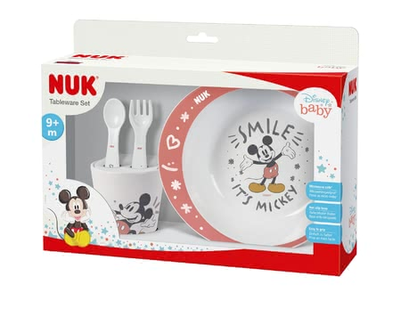 NUK Disney Mickey Tableware Set -  * Every beginning is hard – especially when our kids learn to eat independently. Fortunately, there are little everyday helpers that support you and your tiny humans in learning to eat and drink.