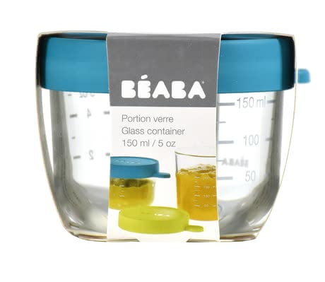 Béaba Glass Container, 150 ml -  * Store, freeze, heat and sterilise – all in one container. The practical Béaba container is made of particularly high-quality and resilient glass and is perfect for storing baby food.