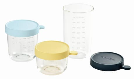Béaba Set of 3 Glass Containers -  * Store, freeze, heat and sterilise – all in one container. The practical Béaba containers are made of particularly high-quality and resilient glass and are perfect for storing baby food.