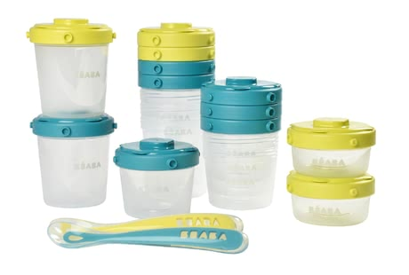 Béaba First Meal Set Containers with Clip incl. Spoons -  * The first meal set by Béaba contains 12 containers with capacities of 60 ml, 120 ml and 600 ml as well as two child-appropriate spoons. By using the matching lids, the freshly prepared meal is sealed in an airtight and leak-proof way.