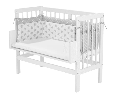 "Alvi Cot Bumper ""Silver Stars"" for Bedside Cot -  * With the Alvi Cot Bumper your child will sleep safe and cuddled up in his or her cot."