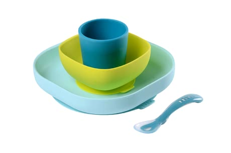Béaba Silicone Meal Set -  * This adorable Béaba meal set will delight everyone with its great pastel colours – trend-conscious parents rely on clear lines and are convinced by all the convenient features this set has.