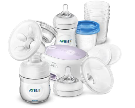 Avent Philips Natural Breastfeeding Set with Electric Breast Pump -  * The Avent single breast pump set provides you with everything you need for effective expression, safe storage and natural feeding of breast milk.