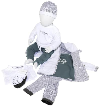 noppies 8-piece Baby Set, 2 Pairs of Trousers, 2 Shirts, 1 Cardigan, 1 Cap, 1 Long-Sleeved Bodysuit and 1 Pair of Socks -  * The comprehensive 8-piece clothing set is perfect for combining the pieces with each other – no matter which occasion you wish to dress up your little one for.