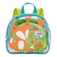 Chicco Plates Set 18 m+ in a Backpack -  * This practical set is perfect for giving away for the first independent meals. The pretty set comes with an adorable backpack as packaging and will delight your child immediately.