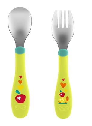 Chicco Stainless-Steel Cutlery Set 18m+ -  * Your child's first own cutlery! Enjoy your little one's first step to independence. Naturally, a part of this is to learn independent eating and that can be done with this colourful cutlery set.