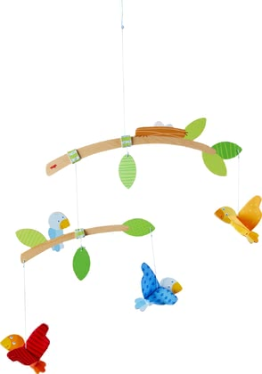 Haba Mobile Little Birds -  * A mobile is an indispensable companion in the basic equipment of a nursery. With its green foliage and colourful little birds, the Haba mobile 'Little Birds' does not only attract the attention of your little one.