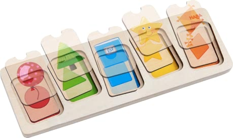 Haba Wooden Puzzle Colours & Shapes -  * In this wooden puzzle, your child has to match 10 different sized puzzle pieces in two layers with the appropriate shapes and colours.