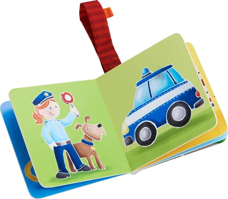 Haba Buggy Book Rescuers in Action -  * A street warden with a loyal dog by their side, a brave firefighter or rather a helper in time of need? Let your child decide!