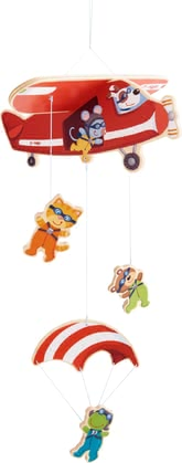 Haba Mobile Parachuters -  * Only the sky is the limit, isn't it? This cute mobile will make your little one's heart melt instantly. It will stimulate their senses as they watch a mouse, cat, bear and frog bravely heading into their next adventure.