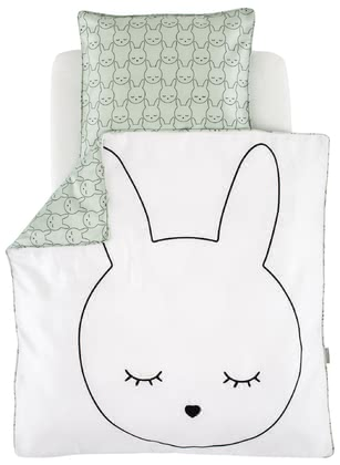 "Träumeland Bed Linen Cuddly Bunny 80 x80 cm -  Funny, modern and extravagant! The dreamlike look of the Träumeland bed linen ""Cuddly Bunny"" provides your little one with many cosy nights in the bassinet, bedside cot or in the stroller."