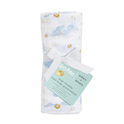 aden + anais Large Swaddle in Harry Potter Limited Edition, Single Pack -  * The most magical muslin of all time! Dive into the magical world of Harry Potter™ together with your baby. Iconic images of Hogwarts™, the Golden Snitch and Harry's flying owl Hedwig make the new aden + anais Metallic collection simply unique.