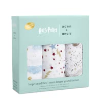 aden + anais Large Swaddles in Harry Potter Limited Edition, Pack of 3 -  * The most magical muslin of all time! Dive into the magical world of Harry Potter™ together with your baby. Iconic images of Hogwarts™, the Golden Snitch and Harry's flying owl Hedwig make the new aden + anais Metallic collection simply unique.
