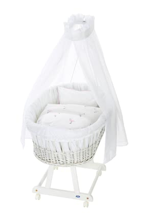 Alvi Bassinet Birthe with XL lying surface, 6 Pieces – Flamingo -  * The ultimate eye-catcher in every room – the bassinet Birthe by Alvi now comes with an extra-large lying surface. The extra-spacious, hand-woven wicker basket provides your baby with a safe and secure sleeping place right from the first day.