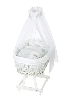 Alvi Bassinet Birthe with XL lying surface, 6 Pieces – Little Farm -  * The ultimate eye-catcher in every room – the bassinet Birthe by Alvi now comes with an extra-large lying surface. The extra-spacious, hand-woven wicker basket provides your baby with a safe and secure sleeping place right from the first day.