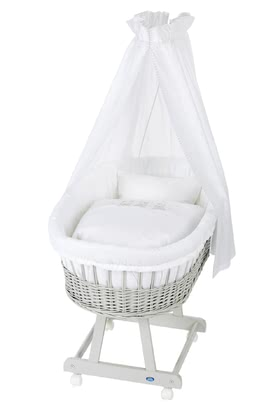 Alvi Bassinet Birthe with XL lying surface, 6 Pieces – Swinging Bears -  * The ultimate eye-catcher in every room – the bassinet Birthe by Alvi now comes with an extra-large lying surface. The extra-spacious, hand-woven wicker basket provides your baby with a safe and secure sleeping place right from the first day.