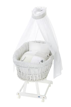 Alvi Bassinet Birthe with XL lying surface, 6 Pieces – Faces -  * The ultimate eye-catcher in every room – the bassinet Birthe by Alvi now comes with an extra-large lying surface. The extra-spacious, hand-woven wicker basket provides your baby with a safe and secure sleeping place right from the first day.
