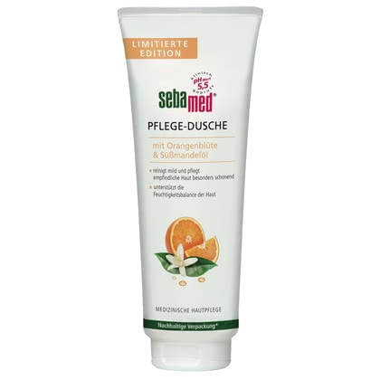 Sebamed Pflegedusche mit Orangenblüte & Süßmandelöl - The Sebamed care shower with orange blossom & sweet almond oil cleanses and cares for your sensitive skin in a special gentle way.
