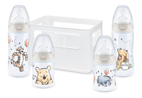 NUK First Choice + Starter Set with Temperature Control -  * ✓ Baby bottles with temperature display ✓ Silicone teat with anti-colic air system ✓ High quality & non-toxic ✓ Contents: 4 bottles, 1 bottle box