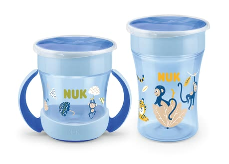 NUK EVOLUTION Magic Duo Set with 360° Drinking Rim - Drinking from all sides thanks to the 360​​° drinking rim, 1x NUK Magic Cup 230ml, 1x NUK Mini Magic Cup 160ml with ergonomic handles, With protective li...