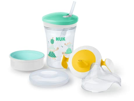 NUK EVOLUTION Cup All-in-1 Learner Set - Holds 230ml of liquid, suitable for children from 6 months, 1x NUK EVOLUTION Trainer Cup drinking attachment (6M +), 1x NUK Magic Cup drinking attachment...