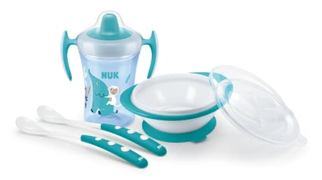 NUK Learning to Eat Set - 1x NUK EVOLUTION Trainer Cup 230ml with soft drinking spout and protective lid for on the go, 1x NUK learner bowl with a lid for the microwave and for on...