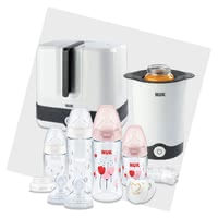 NUK Perfect Starter Set with Temperature Control Exclusive -  * ✓ All-round carefree package for a happy and relaxed start with your baby ✓ Starter set with NUK baby bottles and accessories, steriliser, baby food warmer, soother and many more