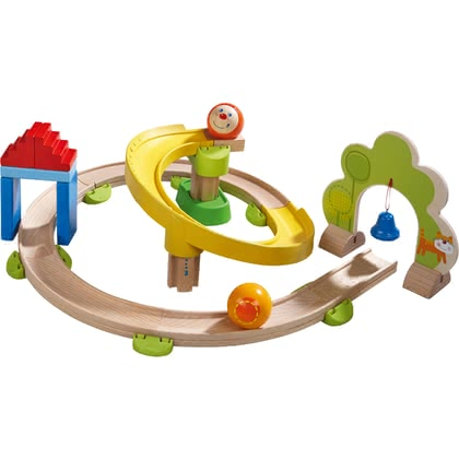 HABA Kullerbü – Kugelbahn Kringelbahn - from 24 months, kringeliger Kullerbü fun thanks to the colorful Kringelbahn with many curves, acoustic and optical effects bring a lot of variety to the ...