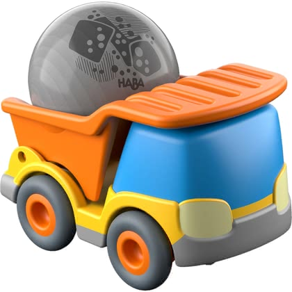 HABA Kullerbü – Dump Truck -  * Out of the way – the dump truck is rolling in.