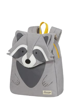 Samsonite Happy Sammies Eco – Children's backpack Raccoon Remy - ✓trendy 3D appliqués ✓eco-friendly material ✓for children from 2 years ✓ergonomic backpack straps ✓reflective details ✓chest strap