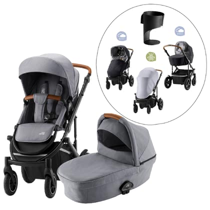 Britax Römer stroller SMILE III – Essential Bundle Exclusive - ✓ All-round set for town and country ✓ from birth ✓ pneumatic tires for extra riding comfort ✓ exclusive set: multi-function stroller, weather protection set, cup holder