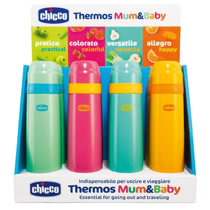 "chicco Thermal Bottle ""Mum & Baby"" -  * ✓ thermal bottle in trendy colours ✓ holds 500 ml of hot or cold drinks ✓ keeps the temperature for approx. 5 hours ✓ sustainable ✓ free from harmful substances"