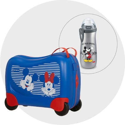 Samsonite Dream Rider Disney Travel Bundle – Exclusive -  * ✓ Exclusive travel set for children ✓ Children's suitcase can be used as a kids' toy vehicle ✓ for children from 3 years ✓ 4 stable wheels ✓ including NUK Sports Cup drinking bottle