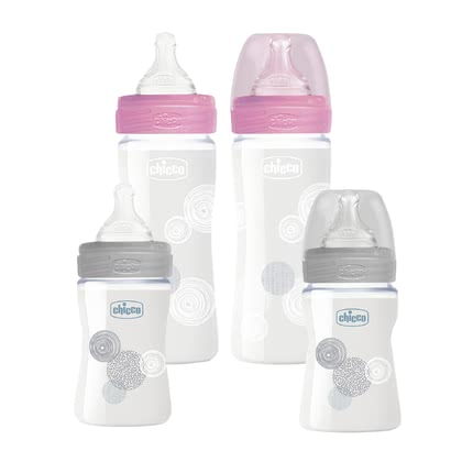chicco Well-Being - Baby Glass Bottles Set, 4 pieces -  * ✓ Glass bottles for newborns ✓ Made in Italy ✓ SUPERIOR GLAS: pure borosilicate glass ✓ hygienic and safe ✓ confirmed anti-colic effect