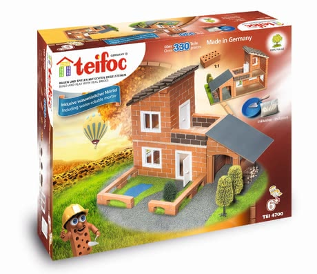 Teifoc Steinbaukasten Villa mit Garage - The dream of owning a home was. Here your child can build his own small family home and use it to play, because the back remains open.