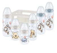 NUK First Choice+ Starter Set – Winnie-the-Pooh – Exclusive -  * ✓ Baby bottles with temperature control display ✓ Silicone teat with Anti-Colic Air System ✓ Contents: 6 bottles, 1 bottle box