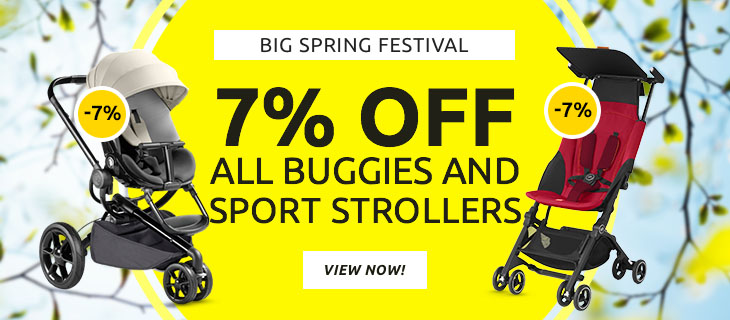 Big spring festival - 7% off all buggies and sport strollers - Buy at kidsroom | Campaigns